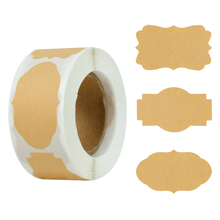 300pcs/roll Kraft Paper Stickers Blank Adhesive Scrapbooking Sticker Gift Package Sealing Envelop Glass Bottle Labels for Decor