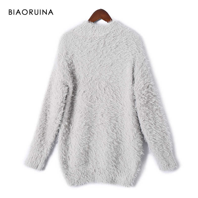 BIAORUINA Women's Solid Casual All match Thick Warm Turtleneck Sweater Female Sweet Autumn Winter Pullover Women Fashion