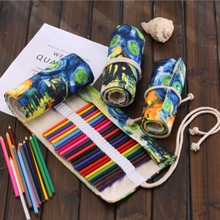 New 36/48/72 Holds Canvas Roll Pencil Case Bag Brush Pen Sketch Storage Pouch