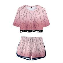 새로운 악마 슬레이어: Kimetsu no Yaiba Kamado Tanjirou Nezuko 티셔츠 코스프레 의상 Kochou Shinobu T 셔츠 Iguro Obanai short Tees