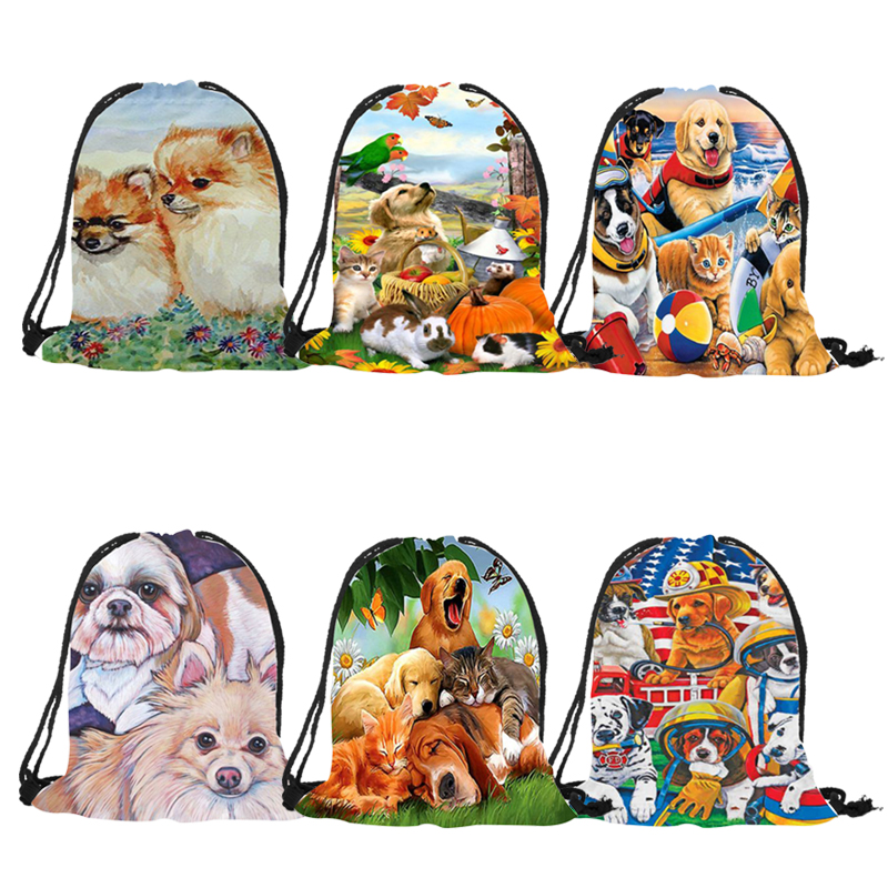 Unisex Backpack Cute Bomi Labrador Golden Retriever Dog Print Casual Practical Drawstring Backpacks For Sports Shopping Travel