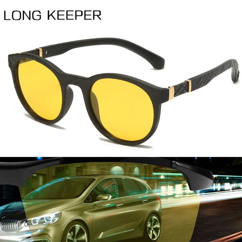 2020 Brand Polarized Night Vision Sunglasses Men Women Vintage Round Yellow Anti-Glare Car Driving TR90 Sun Glasses Gafas UV400