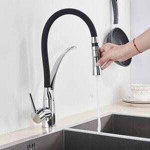 Image 2 - Grifo de fregadero de cocina negro mate extraíble caño giratorio grifo para fregadero de cocina montado en cubierta mezcladores de agua caliente y fría para Baño