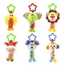 Baby Kids Rattle Toys Cartoon Animal Plush Hand Bell Baby Stroller Crib Hanging Rattles Kawaii 6 Tpye For Gift 35%Off