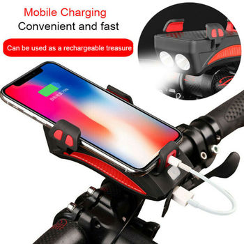 NEW 4in1 Bike Bicycle Headlight Horn Bell Powerbank With Phone Holder Bicycle Mount Bracket for Mobile Smart Phone