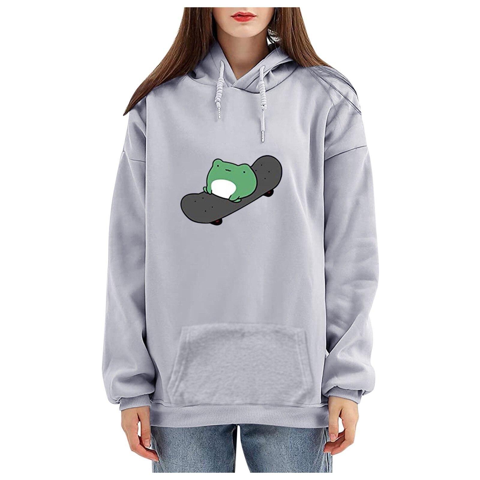 harajuku aesthetic bear anime hoodie women korean kawaii crewneck long sleeve oversized fall winter clothes kpop streetwear tops 19