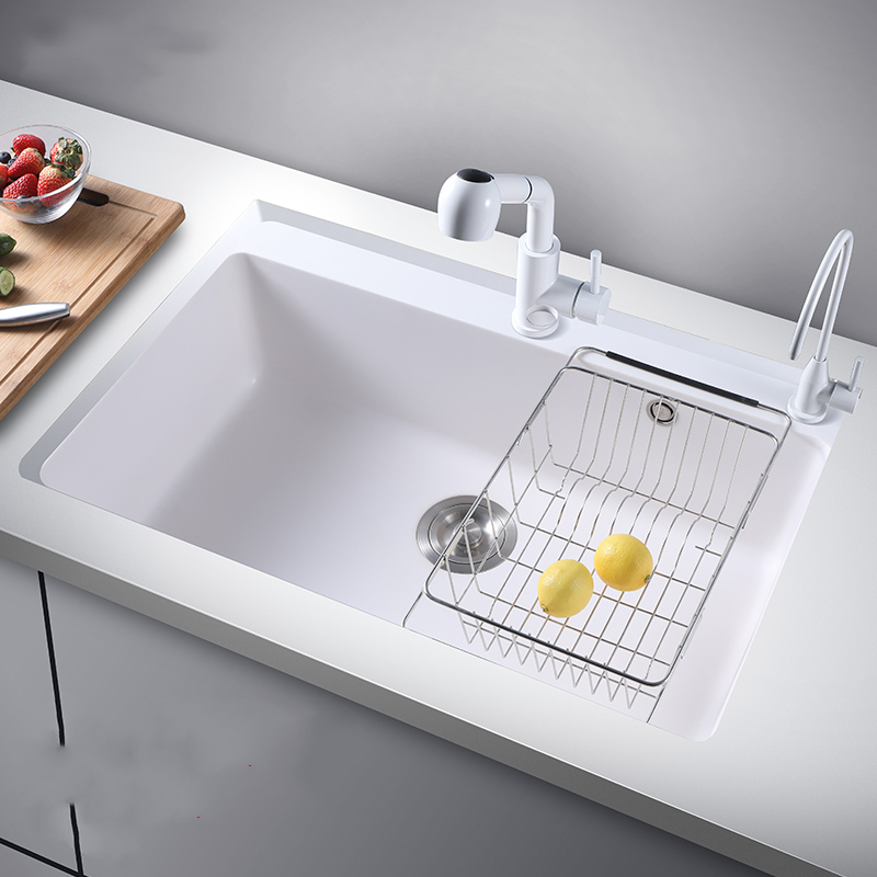 Above Counter Kitchen Sinks White Quartz Stone Sink With Faucet, Kitchen Sink Basket Kitchen Single Bowl Undermount