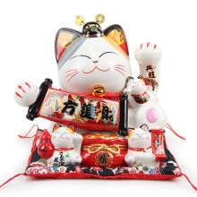 Japanese Large Lucky Cat Ornament Ceramic Piggy Bank Creative Home Decoration Accessories Royal Feng Shui Decor Craft