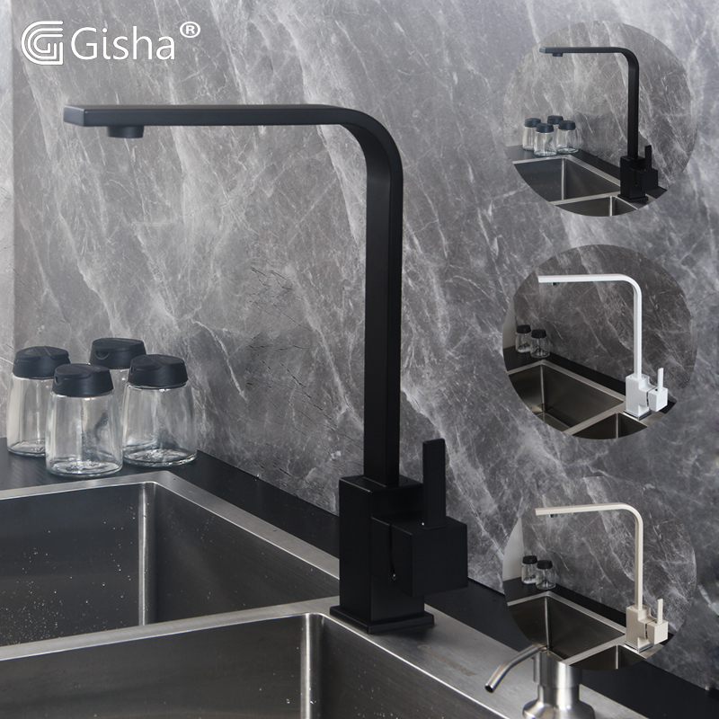Gisha Black Square Kitchen Faucets 360 Degree Rotation Tap Water Faucets Solid Brass Kitchen Sink Tap Water Mixer G2034