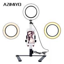 AZiMiYO светодиодный кольцевой светильник с подставкой для телефона и моноподом кольцо с регулируемой яркостью свет 3 режима света для Youtube макияж видео фотографии