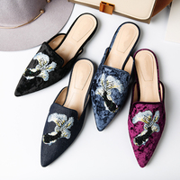 Womens Loafers Velvet Backless Slip On Loafers Embroidery Mule Slippers Elegant Footwear Women's Pointed Toe Embroidered Fish 40