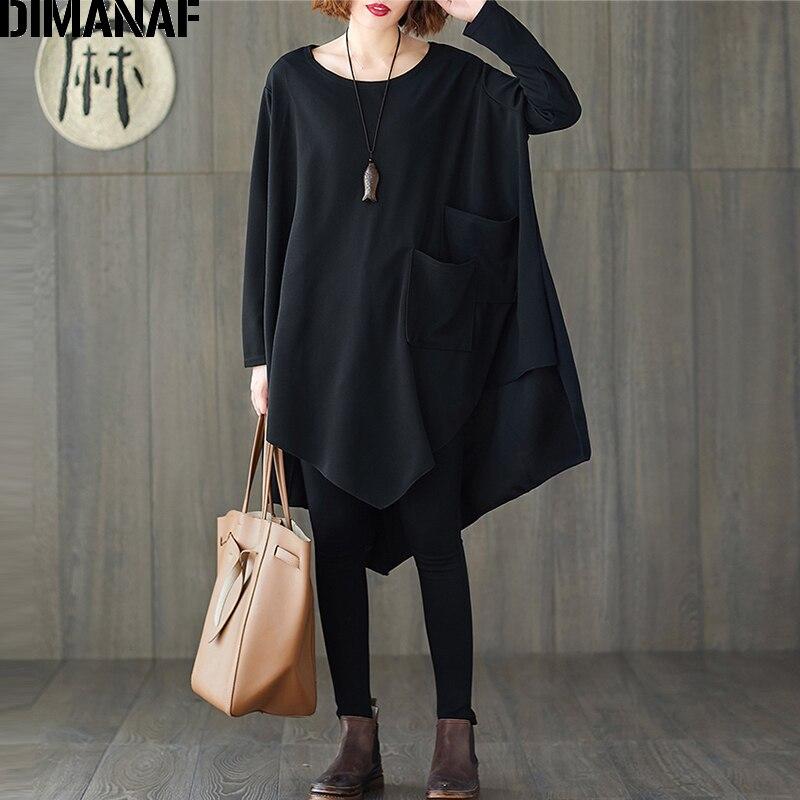 DIMANAF Plus Größe Frühling Frauen Bluse Shirts Dame Tops Tunika Grundlegende Beiläufige Lose Solide Schwarz Fledermaus Ärmel Übergroßen Weiblichen Kleidung