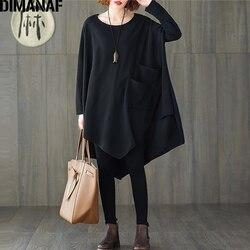DIMANAF Plus Size Spring Women Blouse Shirts Lady Tops Tunic Basic Casual Loose Solid Black Bat Sleeve Oversize Female Clothing
