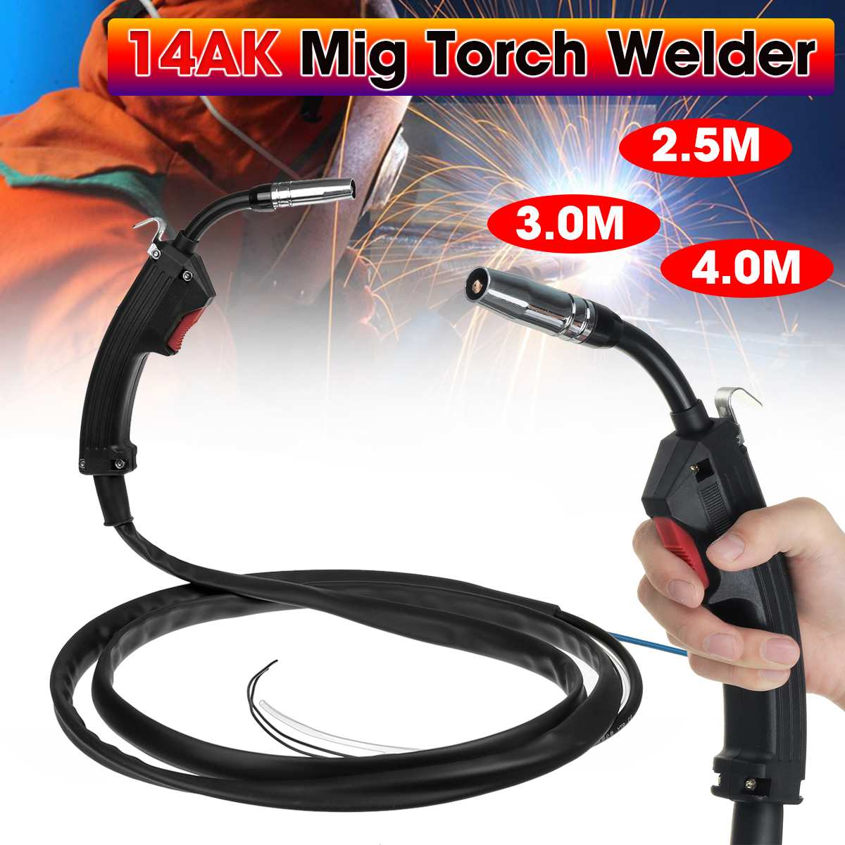 New 2 5M 3M 4M 14AK Gas-electric Welding Guns Torch Electric Welder Complete Replacement Spare Part For MIG MAG Welding Machine