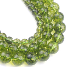 Crystal-Stone-Beads Peridot Natural Bracelets Necklace Jewelry-Making Loose-Spacer 10mm