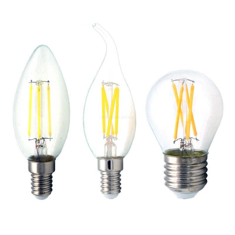 E27 светодиодный Эдисон лампы E14 светодиодный ЛАМПА 4 Вт 8 Вт 12 Вт 16 Вт 220 В ретро лампы Винтаж Свеча светильник C35 C35L G45 Bombillas светодиодный светил...
