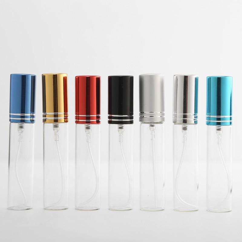 100pcs/Lot 5ml 10ml Portable Refillable Perfume Bottle Empty Metal Spray Bottle Perfume Bottles Atomizer Container Sample Gift
