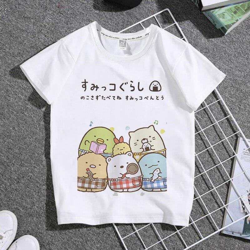 Лидер продаж, милая мультяшная одежда с милыми животными, Детская футболка, топы унисекс, футболка, летние детские белые футболки с круглым ...
