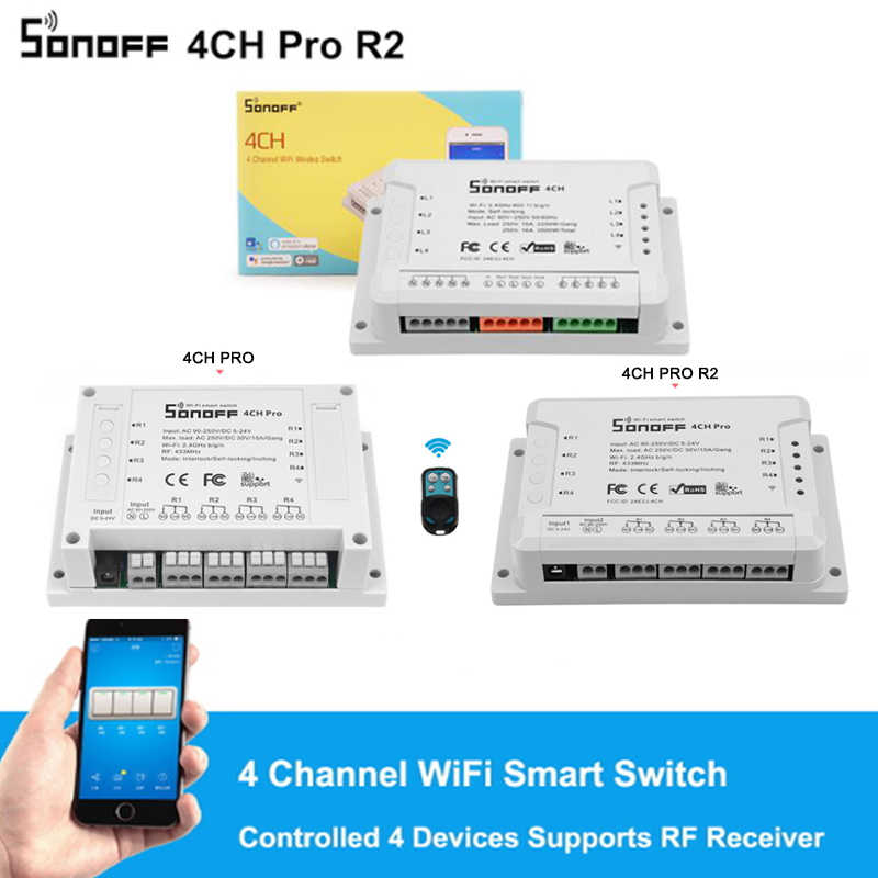 Sonoff 4CH Pro R2, smart WIFI Switch 433 MHZ RF Wifi Lampu 4 Gang 3 Mode Kerja Inch Interlock Rumah Pintar dengan Alexa