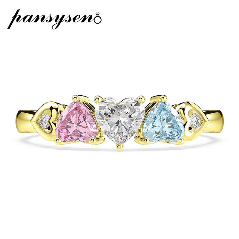 PANSYSEN Gold Color Heart Design Topaz Gemstone Engagement Party Rings for Women Solid Silver 925 Jewelry ring Birthday Gift