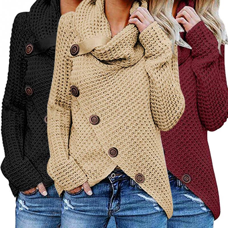 New Fashion Women's Winter Jacket Autumn High Collar Women Sweater Casual Loose Knitted Sweater Wrap Sweater Turtleneck Outwear