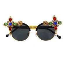 Diamond Crystal Sunglasses with Rhinestones Baroque Rose Gold Retro Glasses Korean Fashion Woman 2019 Flower Pearl Sun