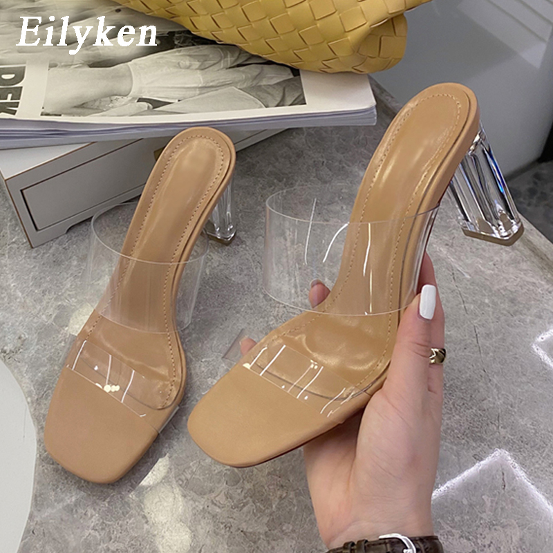 Eilyken Summer Fashion Crystal Perspex Heels Clear PVC Transparent Jelly Shoes Woman Open Toe Outdoor Slippers Sandalen Pumps
