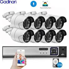 Gadinan H.265 8CH 5MP POE NVR 키트 보안 얼굴 감지 CCTV 시스템 오디오 AI 5MP IP 카메라 야외 P2P 비디오 감시 세트