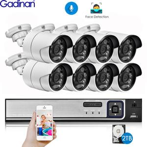 Gadinan H.265 8CH 5MP POE NVR Kit Security Face Detection CCTV System Audio AI 5MP IP Camera Outdoor P2P Video Surveillance Set
