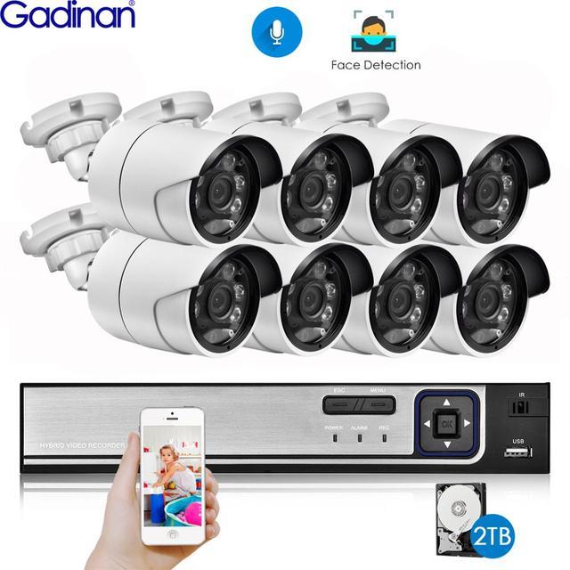Gadinan H.265 8CH 5MP POE NVR Kit Security Face Detection CCTV System Audio AI 5MP IP Camera Outdoor P2P Video Surveillance Set