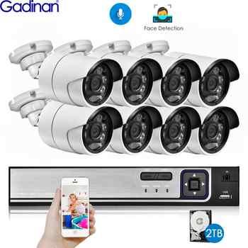 Gadinan H.265 8CH 5MP POE NVR Kit Sicherheit Gesicht Erkennung CCTV System Audio AI 5MP IP Kamera Outdoor P2P Video überwachung Set