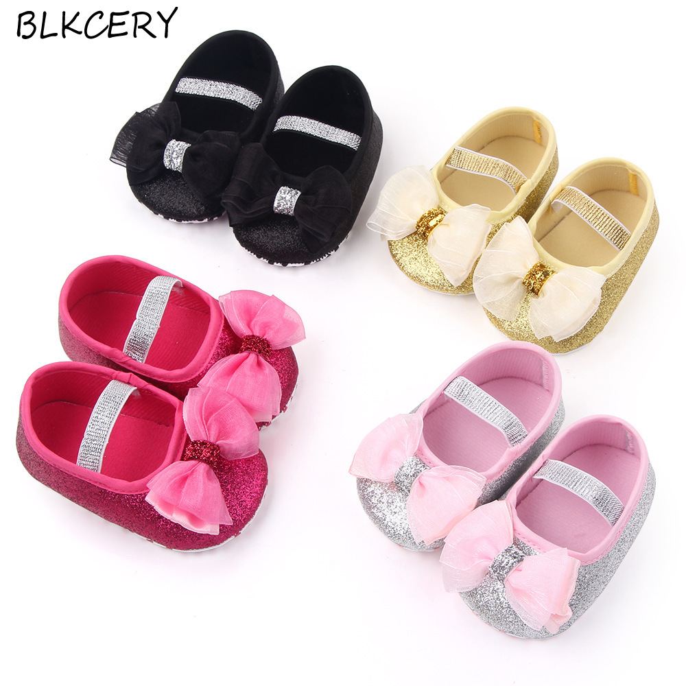 Fashion Baby Girls Crib Shoes Newborn First Steps Toddler Bling Bows Loafers Infant Tenis for 1 Year Old Footwear Doll Shoe Gift