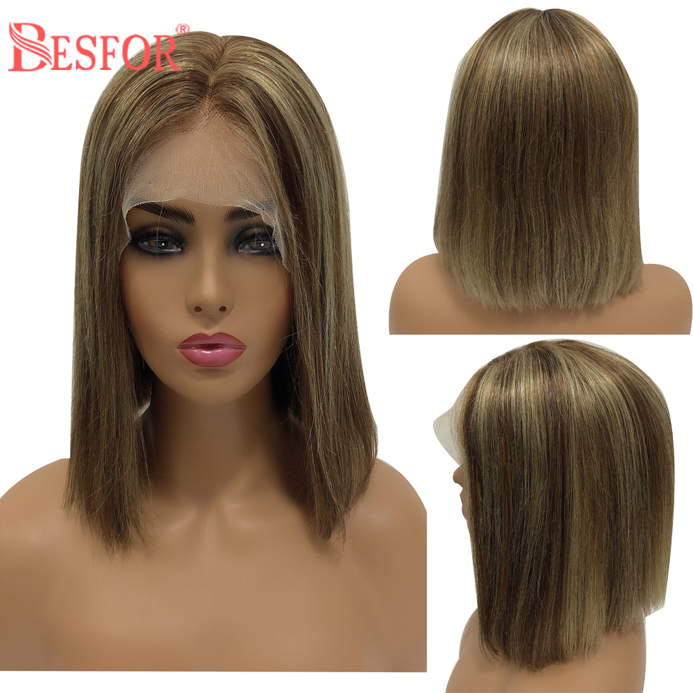 BESFOR Ombre Human Hair Bob Wig Highlight Short Straight 13*6 Lace Front Wig Balayage Pre Plucked With Baby Hair For Black Women