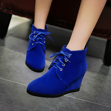 Plus Size 34-43 2019 Fashion Women Boots Casual Leather Wedges Heels Lace Up Shoes Woman Pointed Toe Ankle Boots Zapatos Mujer стоимость