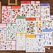 2 unidades/pacote natural iris daisy flor transferência impressão adesivos pvc transparente material flores folhas plantas verdes adesivos
