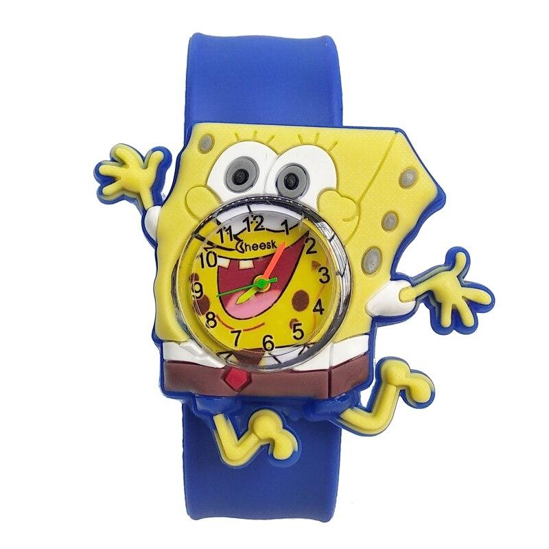 New Listing Bend Strap 3D SpongeBob Children Watch Soft Silicone Kids Watches For Student Boys Girls Clock Child Quartz Watch