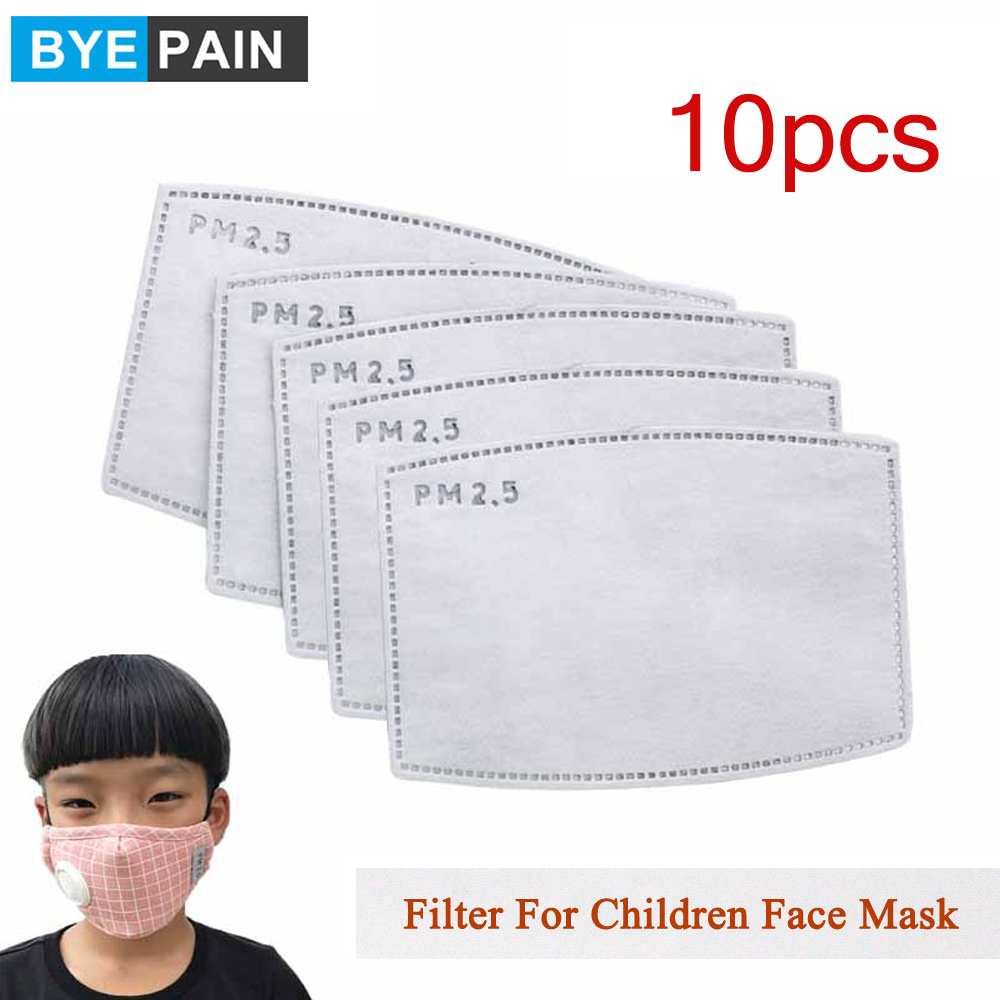 10Pcs(=5packs) Child Kids Activated Carbon Filter PM2.5 Mouth Mask Replaceable Filter-slice 5 Layers Non-woven