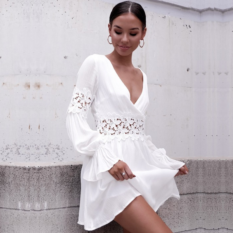 Women Summer <font><b>Dress</b></font> Lace <font><b>Sexy</b></font> <font><b>Dress</b></font> Short Sleeve Holiday Beach Hollow Out Mini <font><b>Dress</b></font> <font><b>White</b></font> image