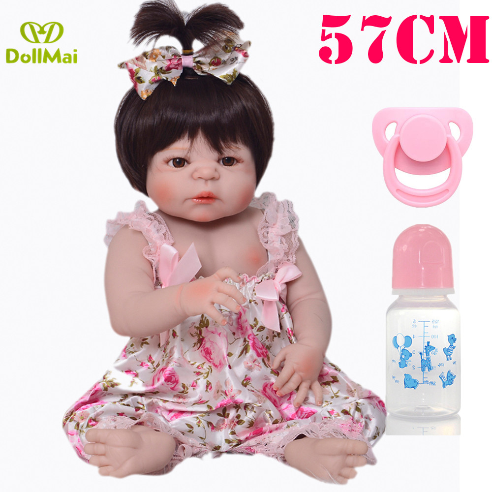 55cm Full Body Silicone Reborn Girl Baby Doll Toys Lifelike bebes Reborn Doll lol Child Birthday