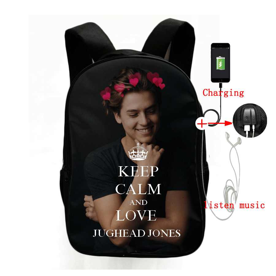 Riverdale Jughead Jones Backpacks for Teenager School Bags Cole Sprouse Fans Usb Charging Backpacks Schoolbags High School Bags