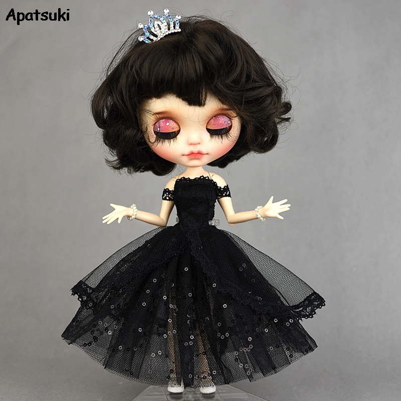 Black Princess Dress For Blythe Dolls New Year Evening Party Dress For BJD Blythe Dolls Off Shoulder Outfits Clothes Accessories