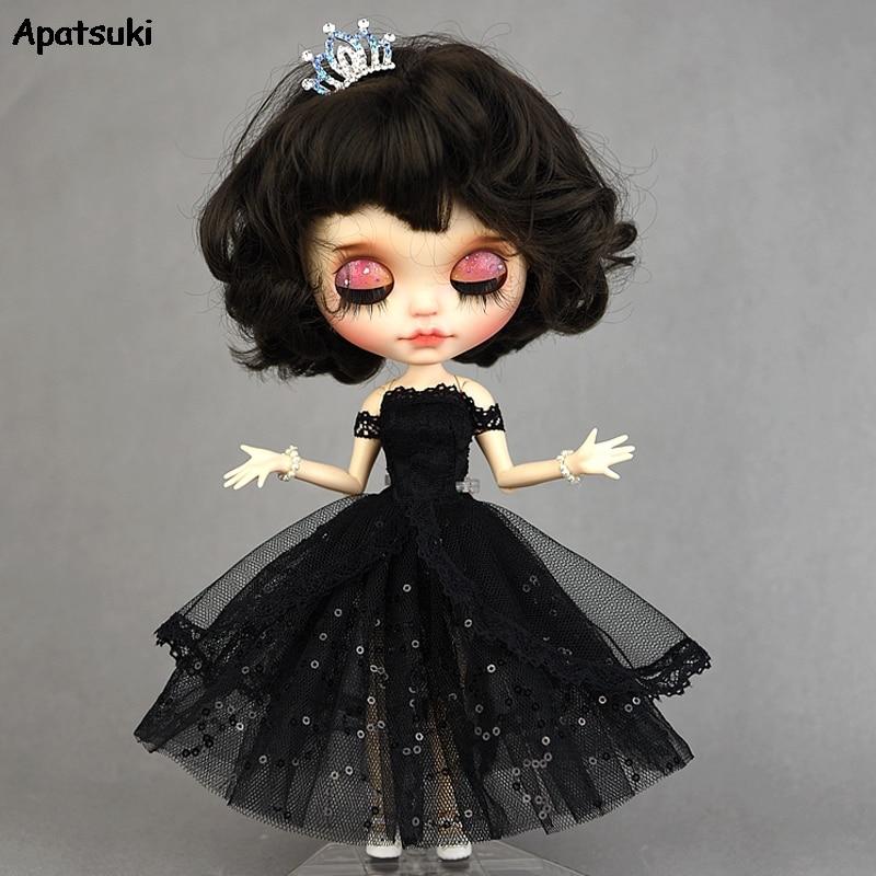 Vestido de princesa negro para muñecas Blythe vestido de fiesta de noche de Año Nuevo para BJD muñecas Blythe trajes de hombro accesorios de ropa 2020 nuevo vestido de baile de lentejuelas listo para enviar tamaño US2-US14 vestido para quinceañeras 15 años Formal baile de graduación cumpleaños
