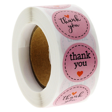 1'' 100-500pcs Pink Paper Thank You Stickers Scrapbooking Wedding Stickers Party Favors Envelope Seal Labels Stationery Stickers