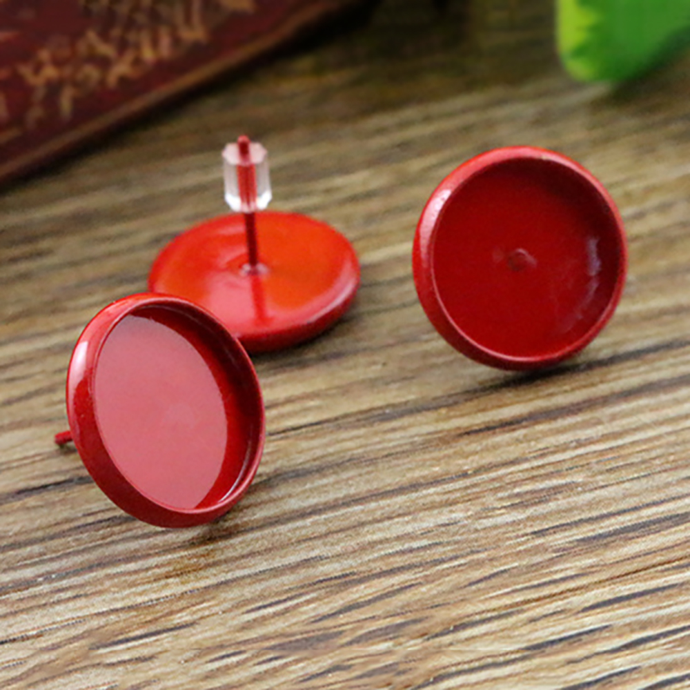 12mm 20pcs Red Color Plated Earring Studs,Earrings Blank/Base,Fit 12mm Glass Cabochons,Buttons;Earring Bezels (L2-09)