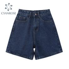 2021 verão nova moda denim shorts mulheres cintura alta botão perna larga calças streetwear causal do vintage feminino curto jeans mujer