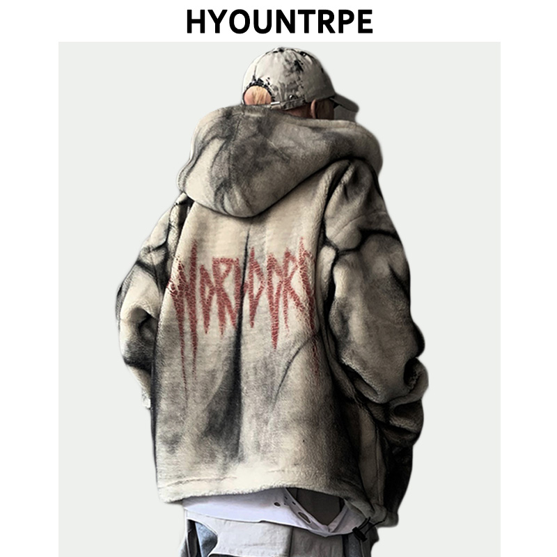 Fashion Tie-dyed Fleece Jackets And Coats Mens Hairy Zipper Oversize Hoodies Outerwear New Casual Warm Thicken Streetwear Parkas