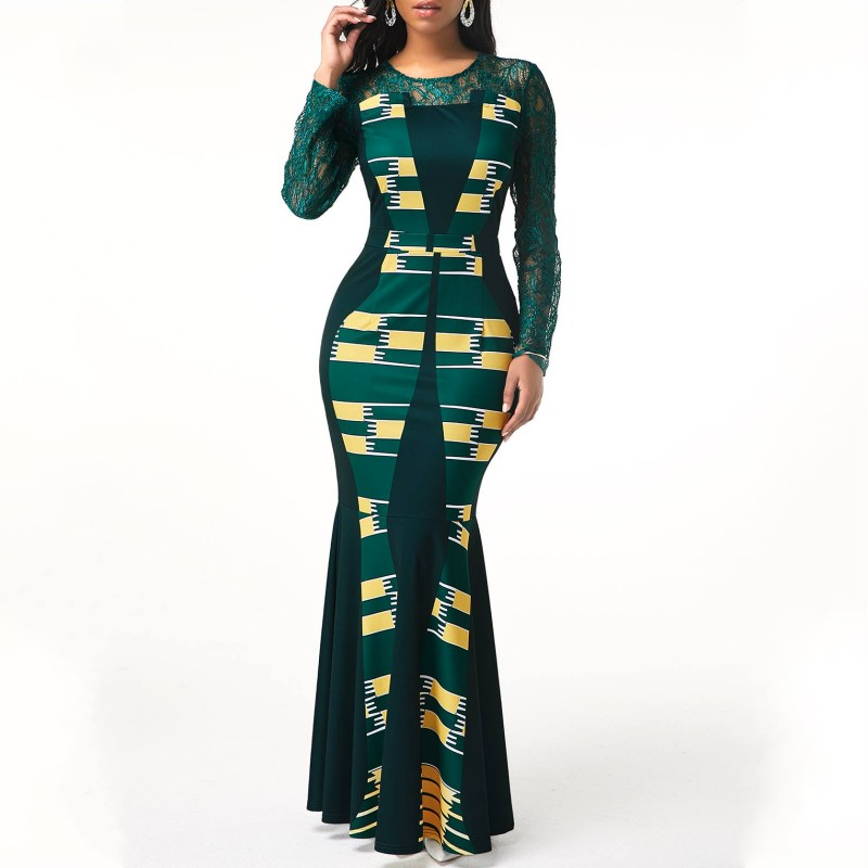 5XL 4XL Plus Size 2020 Casual Slim Patchwork Lace Maxi Dresses Elegant Sexy Long Dress Africa Clothing African Dress For Women