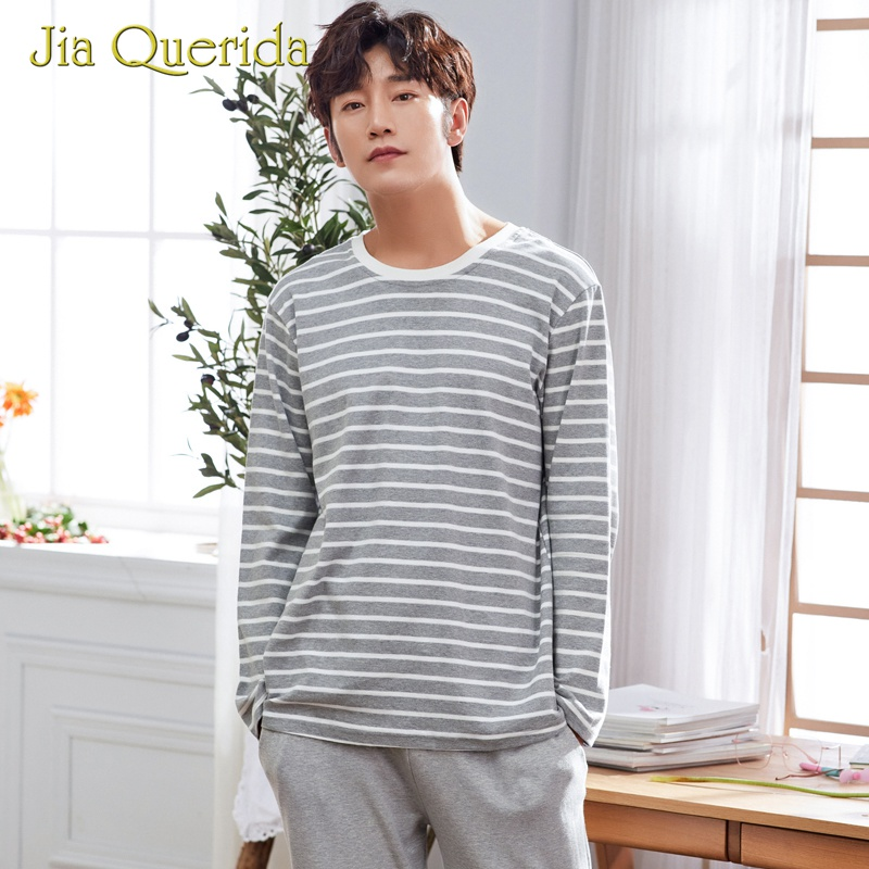 Chinese Pajamas Pijama Mans Sleepwear For Men Elastic Waist O-Neck Cotton Solid Gray Striped Autumn Long Sleeve Mens Pajama Set
