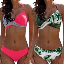 2019 Sexy Push up Two piece Bikini Women Swimsuit Criss Cross Halter Bikinis Plus size Female Bathing suit Swim wear Beachwear недорого