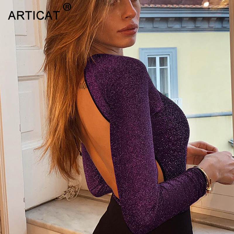 Articat Sexy Backless Sparkly Bodysuit Women Long Sleeve O Neck Elegant Purple Bodycon Jumsuit 2020 Spring Streetwear Rompers